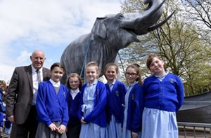 Edward's Elephant is joined by Cllr Eddie Connor and Kirkby C of E School Children